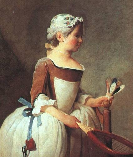 Chardin-Girl-with-Racket-and-Shuttlecock-Oil-Painting