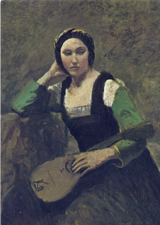 Corot woman with mandolin