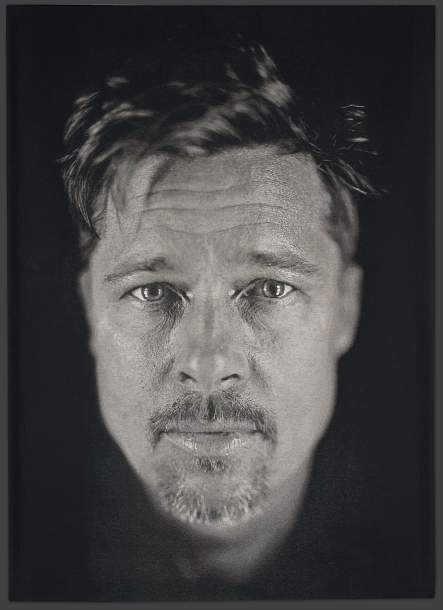 Chuck Close tapestry of Brad Pitt