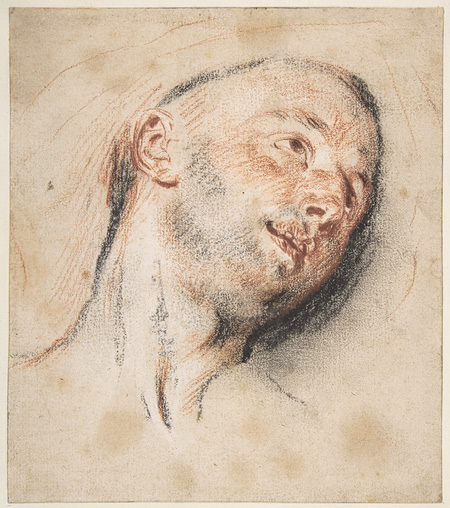 Watteau head drawing