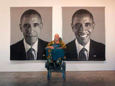 Chuck Close with taperstries of Barack Obama