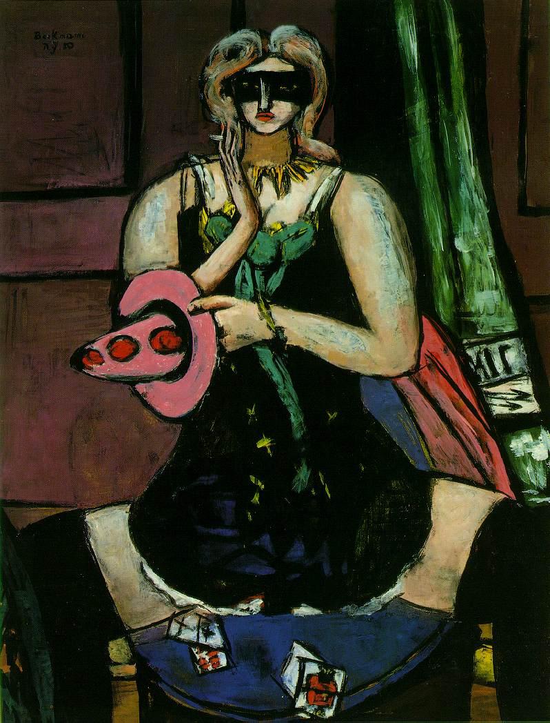 Beckman, Columbine (Carnival Mask, Green, Violet and Pink)